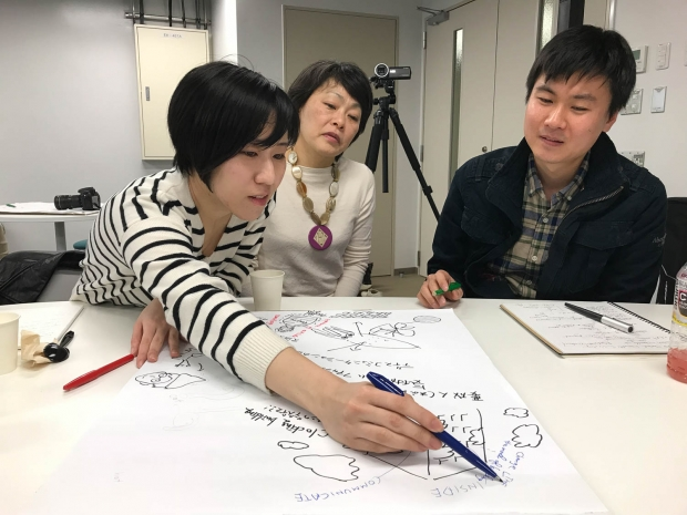 students drawing ideas on paper