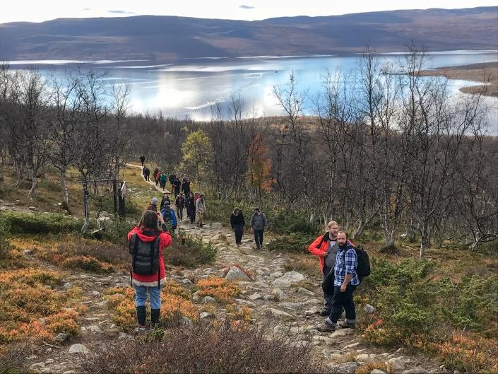 people walking on a path